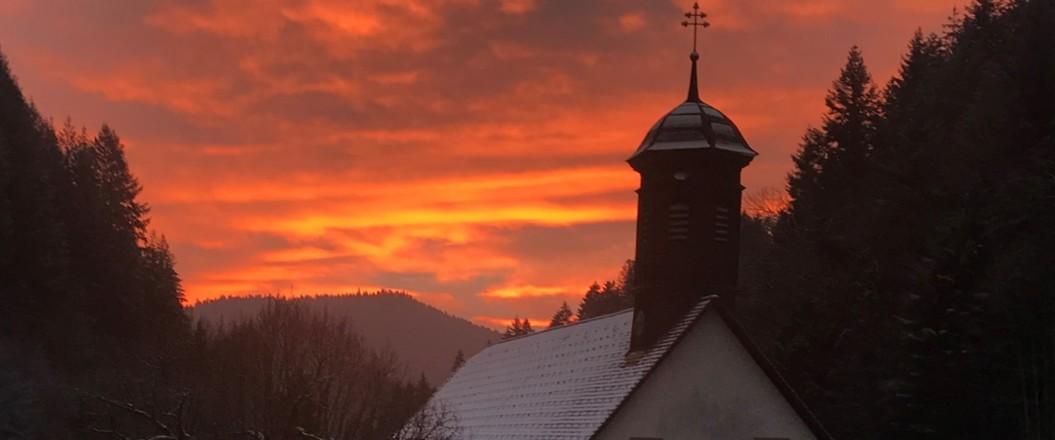 Kloster Wittichen Sonnenuntergang Winter