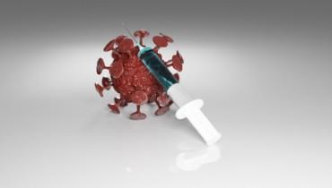 Bild von Virus und Impfspritze